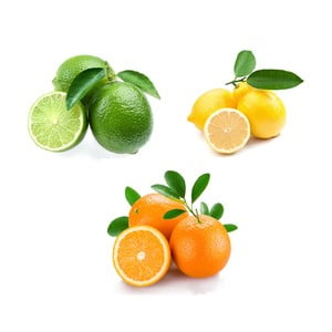 Set obrazů na skle Citrusy, 20x20 cm, 3 ks
