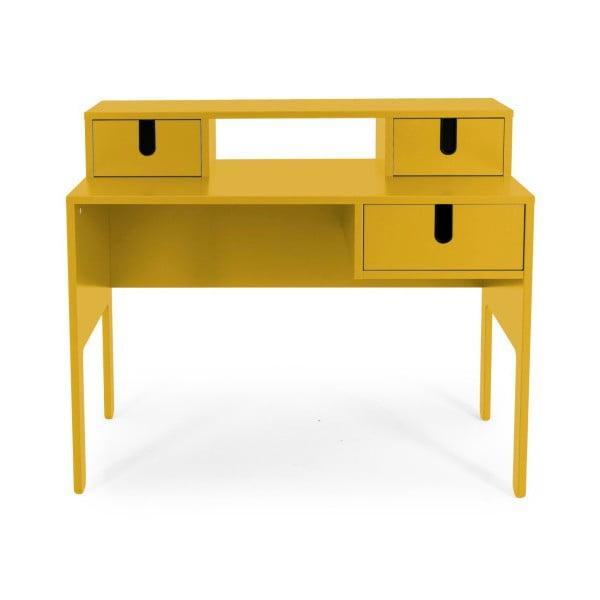 Žlutý pracovní stůl se 3 šuplíky Tenzo Uno