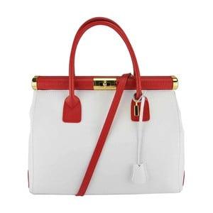 Kožená kabelka Bast White & Red