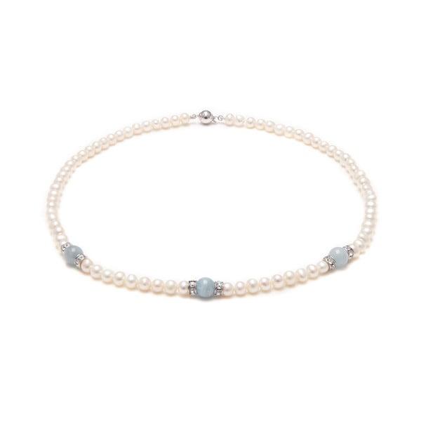 Perlový náhrdelník s modrými kamínky GemSeller Thesium