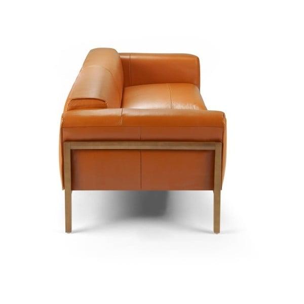 Oranžová kožená 3místná pohovka Ángel Cerdá Livia