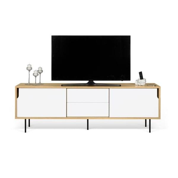TV komoda v dekoru dubového dřeva s bílými detaily TemaHome Dann, délka 201cm