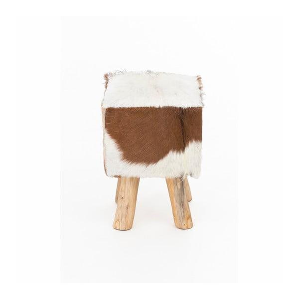 Stolička z teakového dřeva s kozí kůží WOOX LIVING Meera