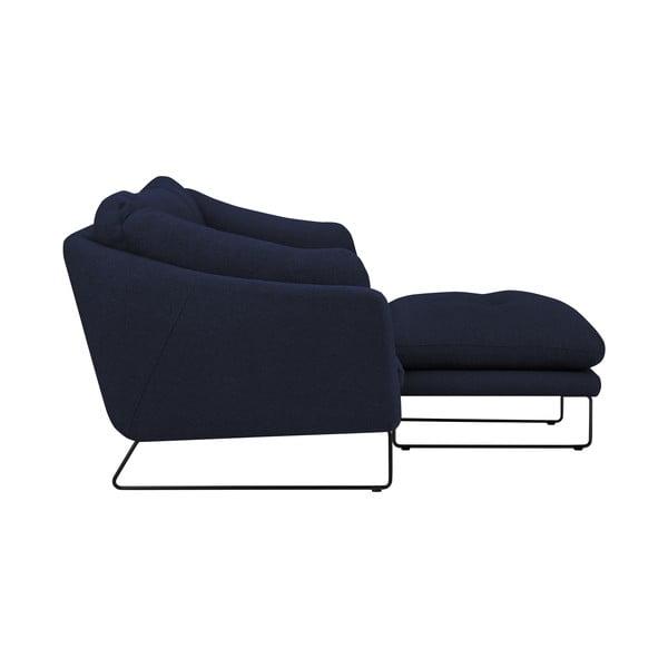 Set tmavě modé třímístné pohovky a sedacího pufu Windsor & Co Sofas Comet