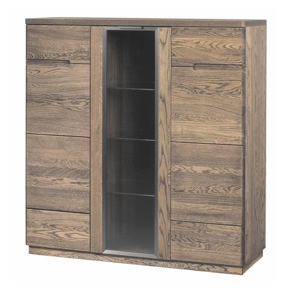 Třídveřová komoda / minibar v dřevěném dekoru kouřového dubu Szynaka Meble Negro