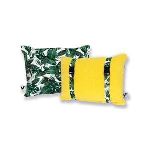 Žlutý oboustranný plážový polštář Origama Leaf