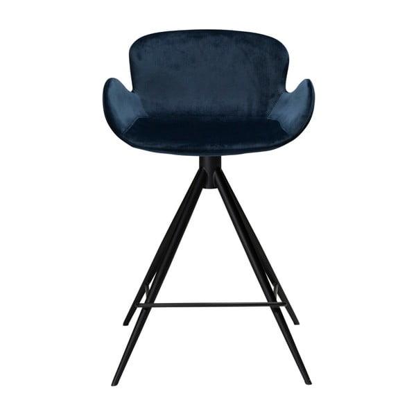 Tmavě modrá barová židle DAN–FORM Denmark Gaia Velvet, výška 87 cm