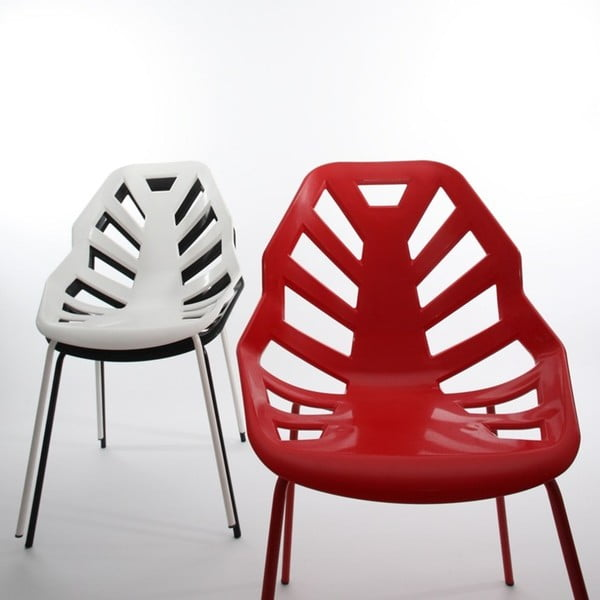 Set 2 bílých židlí Ninja, chromové nohy
