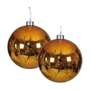 Sada 2 vánočních skleněných baněk zlaté barvy s LED světly Naeve, Ø 13 cm