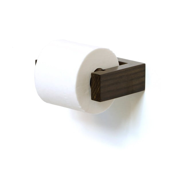 Nástěnný držák na toaletní papír z dubového dřeva Wireworks Mezza Dark