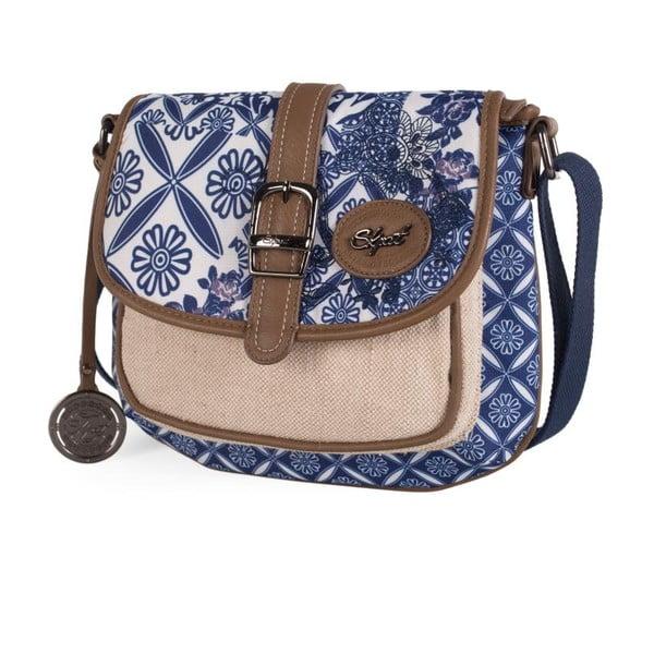 Béžovo-modrá kabelka SKPA-T, 25 x 20 cm