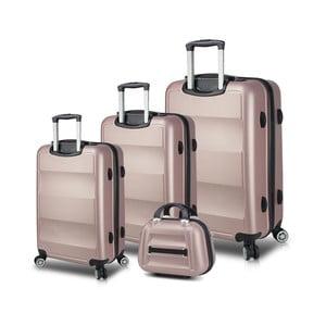 Sada 3 růžových cestovních kufrů na kolečkách s USB porty a příručního kufříku My Valice LASSO Travel Set