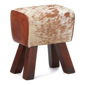 Stolička z masivního dřeva s koženým potahem Interlink Caldera