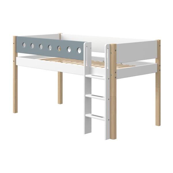 Modro-biela detská posteľ s nohami z brezového dreva Flexa White, výška 120 cm