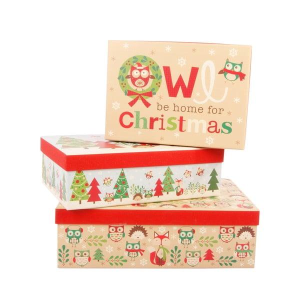 Sada 3 úložných krabic Be Home For Christmas