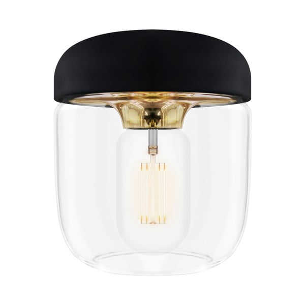 Čierne závesné tienidlo s objímkou zlatej farby VITA Copenhagen Acorn, Ø 14 cm