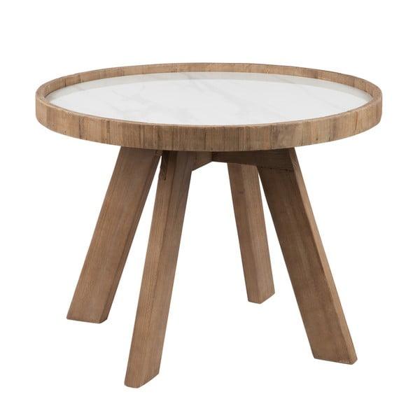 Dřevěný odkládací stolek s bílými detaily J-line Cer, 60cm