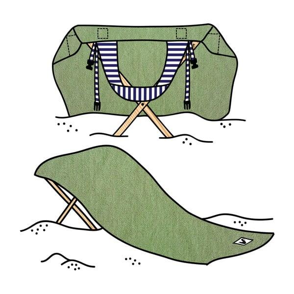 Skládací plážové lehátko a osuška v jednom Sun Seat Olive