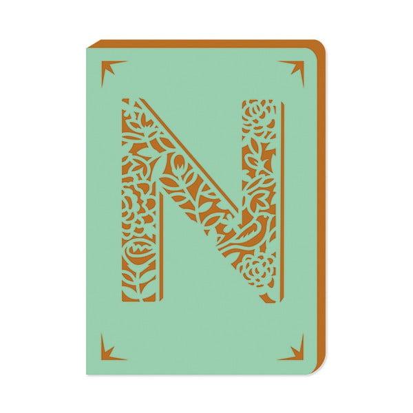 Linkovaný zápisník A6 s monogramem Portico Designs N, 160stránek
