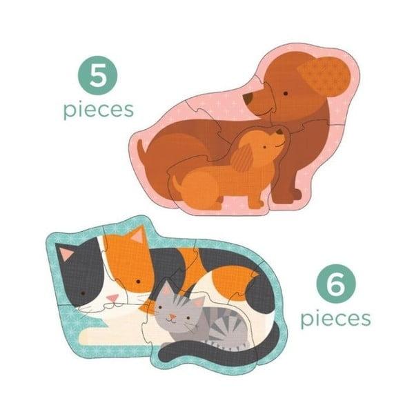 Sada 4 skládaček z recyklovaného papíru a rostlinného inkoustu Petit collage Pets