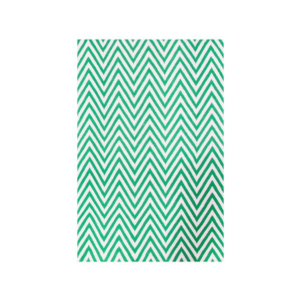 Vlněný koberec Zig Zag Green, 240x155 cm
