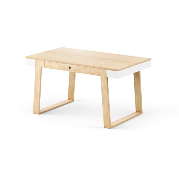 Stůl z dubového dřeva s bílými detaily Absynth Magh, 140x80cm