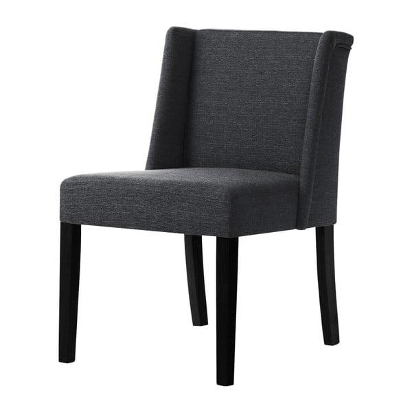 Antracitově šedá židle s černými nohami z bukového dřeva Ted Lapidus Maison Zeste