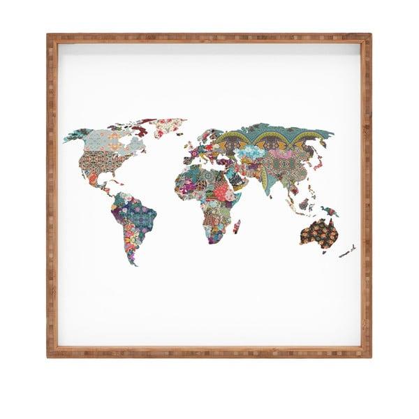 Tavă decorativă din lemn Map, 40x40cm