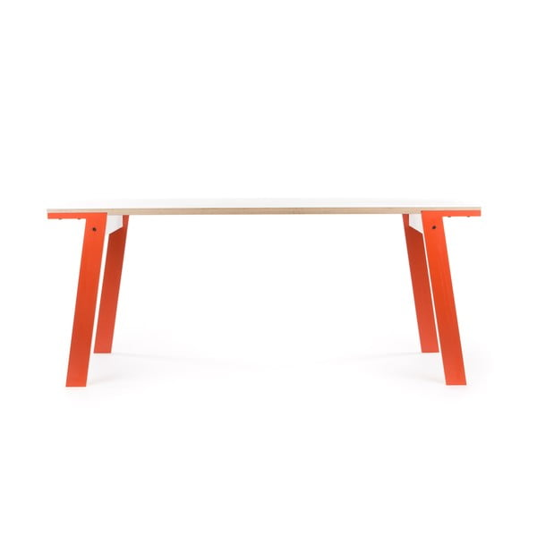 Oranžový jídelní/pracovní stůl rform Flat, deska 180x80 cm
