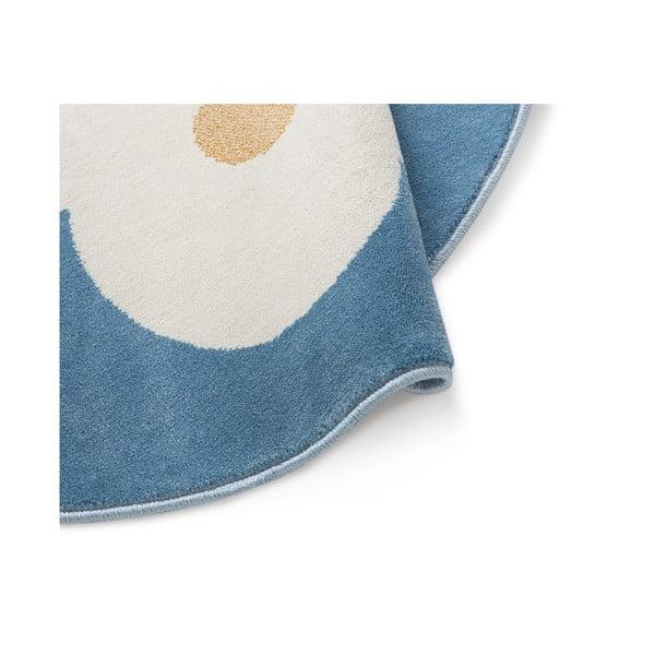 Modrý kulatý koberec s motivem mraku KICOTI Azure, ø 80 cm