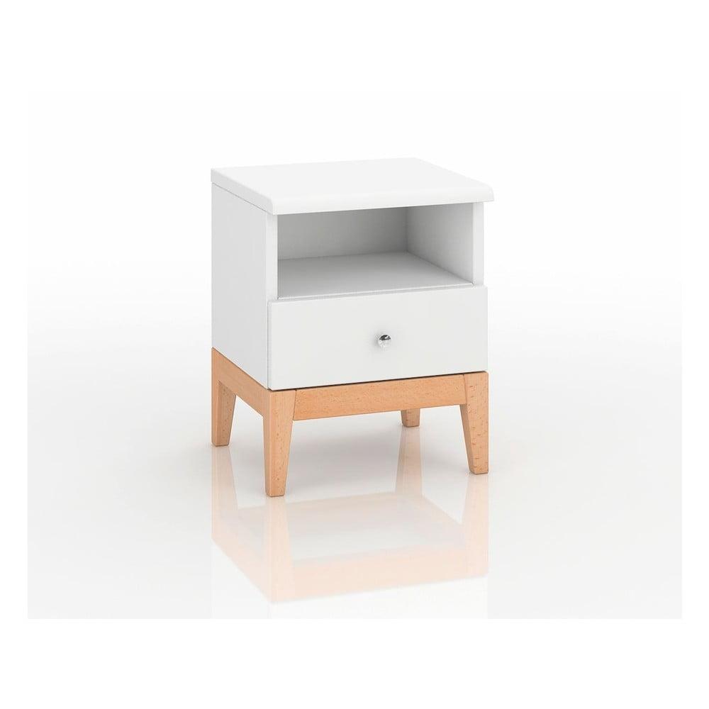 Bílý noční stolek z borovicového dřeva Skandica Livia, výška 54cm