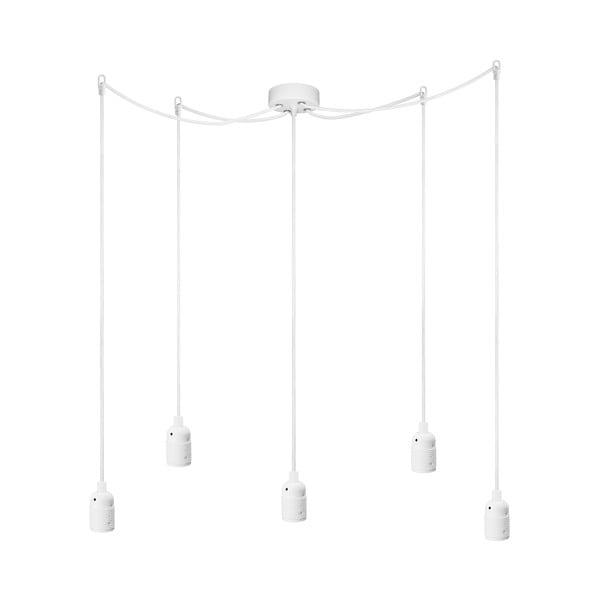 Bílé závěsné svítidlo s 5 kabely Bulb Attack Uno Cassie