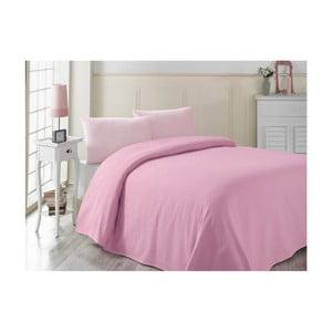 Růžový bavlněný lehký přehoz přes postel Pembe, 200x230cm