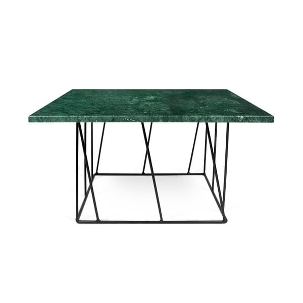 Zelený mramorový konferenční stolek s černými nohami TemaHome Helix, 75 cm
