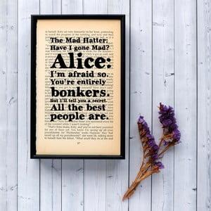 Plakát v dřevěném rámu Alice in Wonderland Bonkers