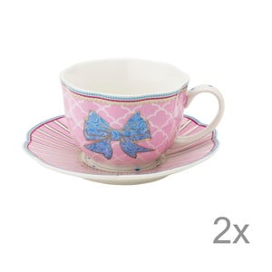 Porcelánový šálek s podšálkem Bowie od Lisbeth Dahl, 2 ks