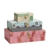 Sada tří krabiček potažených látkou, barevné