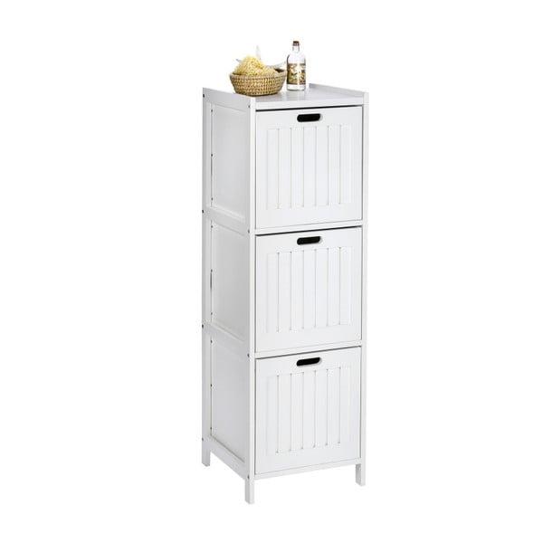 Bílá dřevěná skříňka do koupelny se3šuplíky Wenko Oslo