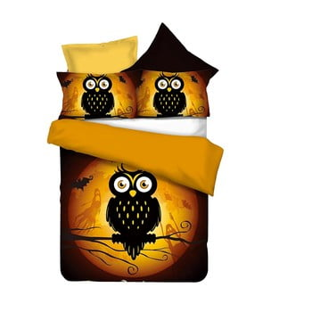 Lenjerie de pat din microfibră DecoKing Owls Ghoststory, 135 x 200 cm