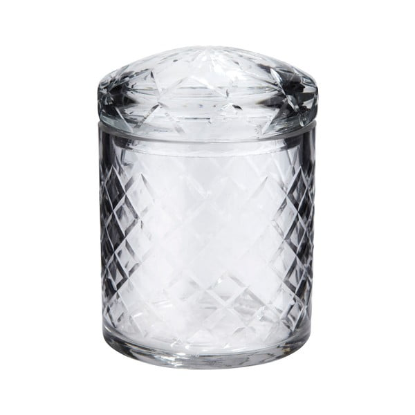 Set dvou broušených skleněných dóz