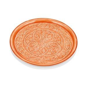 Oranžový ručně kovaný servírovací talíř The Mia Duggal, ⌀51cm