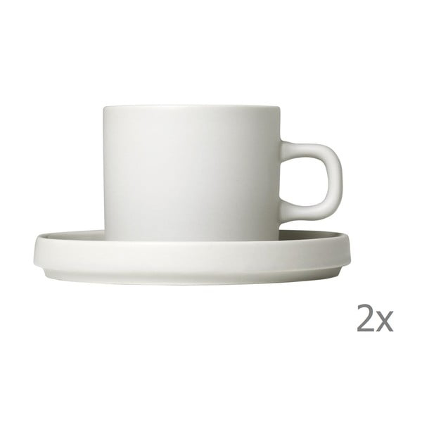Sada 2 bielych keramických hrnčekov na kávu s tanierikmi Blomus Pilar,200ml