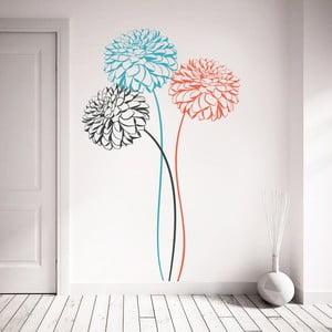 Samolepka na stěnu 3 barevné květiny, 70x50 cm