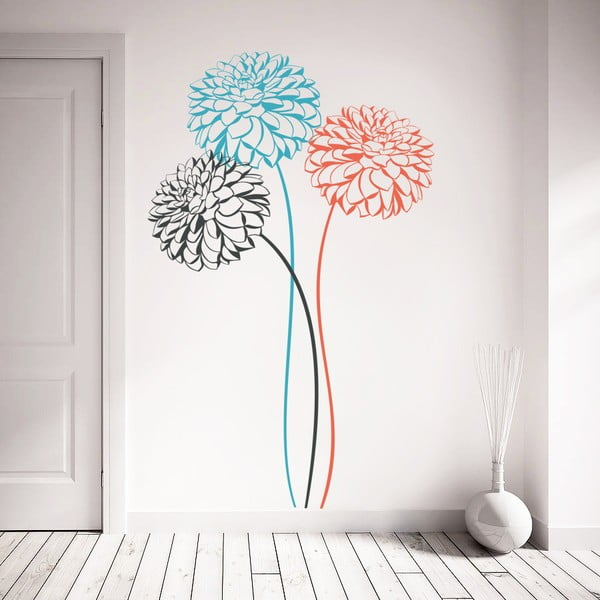 Samolepka Tři barevné květy, 70x50 cm