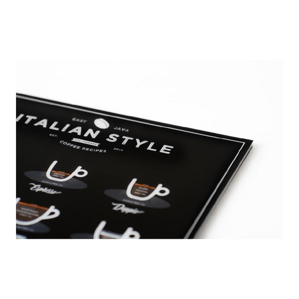 Černý plakát Follygraph Italian Style Coffee, 21x30cm