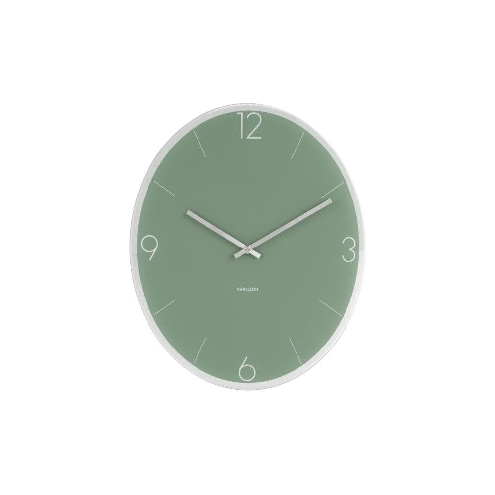 Zelené nástěnné hodiny Karlsson Elliptical
