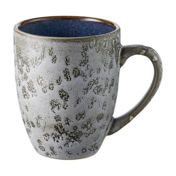 Šedý kameninový hrnek s tmavě modrou vnitřní glazurou Bitz Mensa, 300 ml