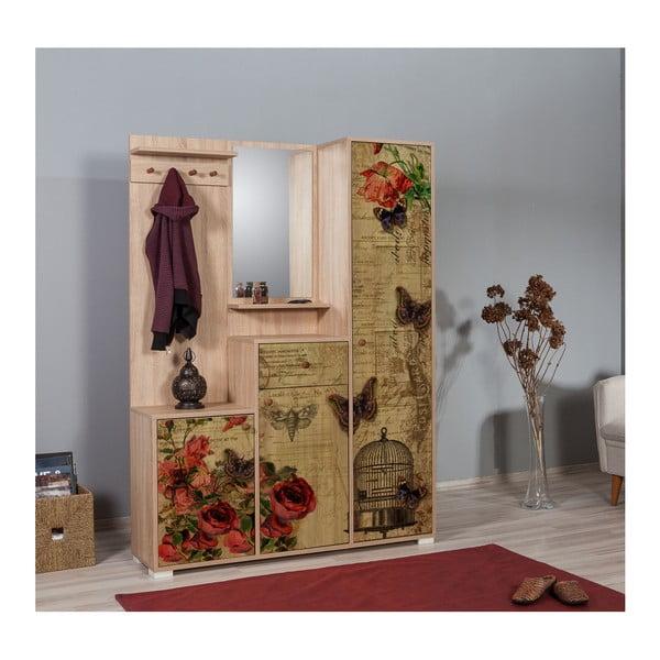 Hnědá předsíňová stěna se zrcadlem Kardelen Butterfly, výška 188 cm