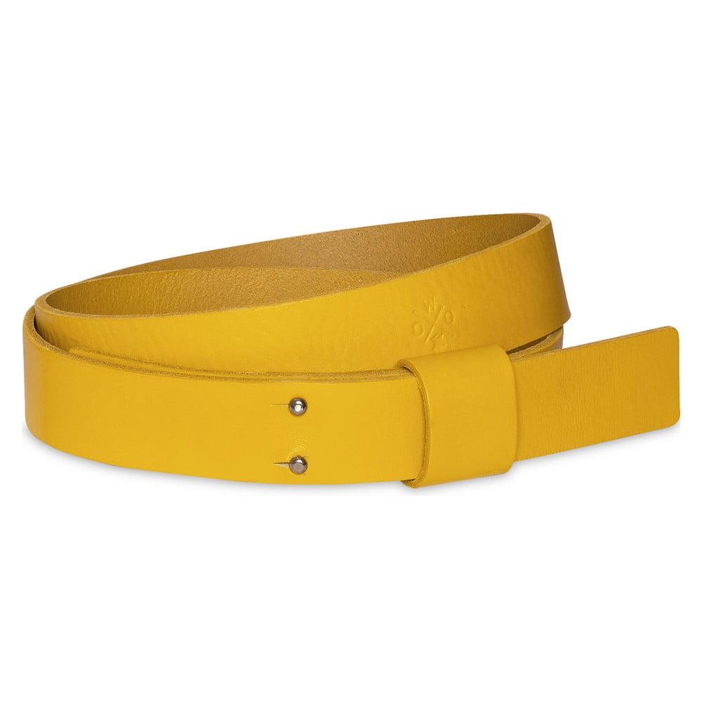 Žlutý pánský kožený pásek Woox Bini Luteus, délka 115 cm