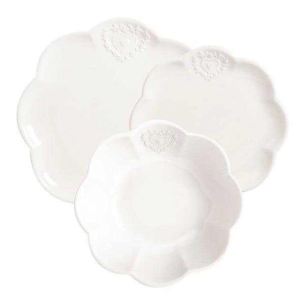 Sada 3 talířů White Heart